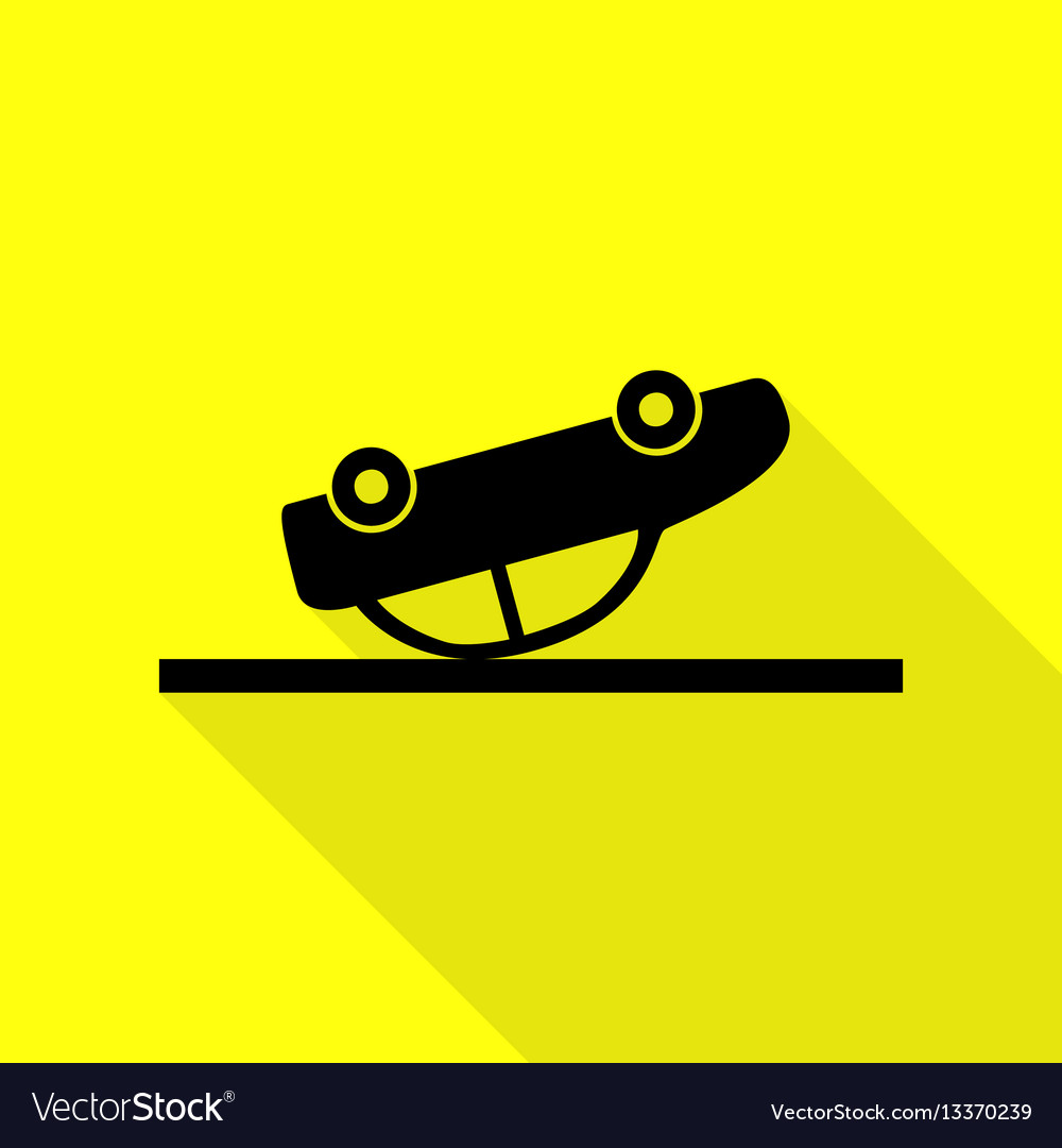 Crashed car sign black icon with flat style vector image