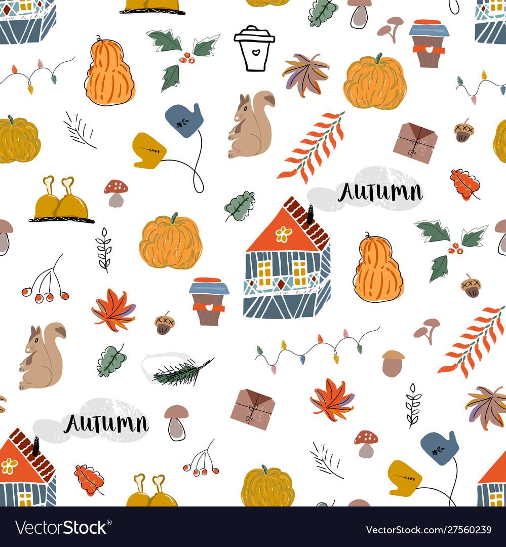 Cute autumn seamless pattern fall harvest season