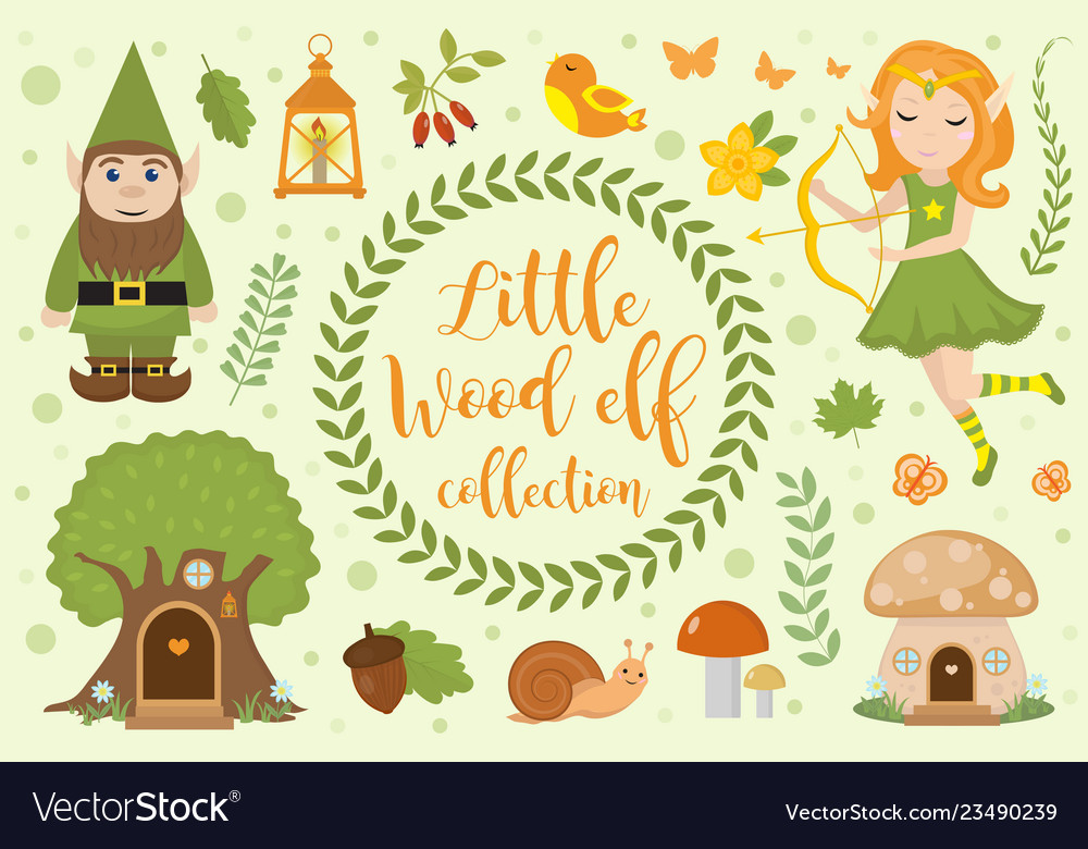 Cute forest elf character set of objects