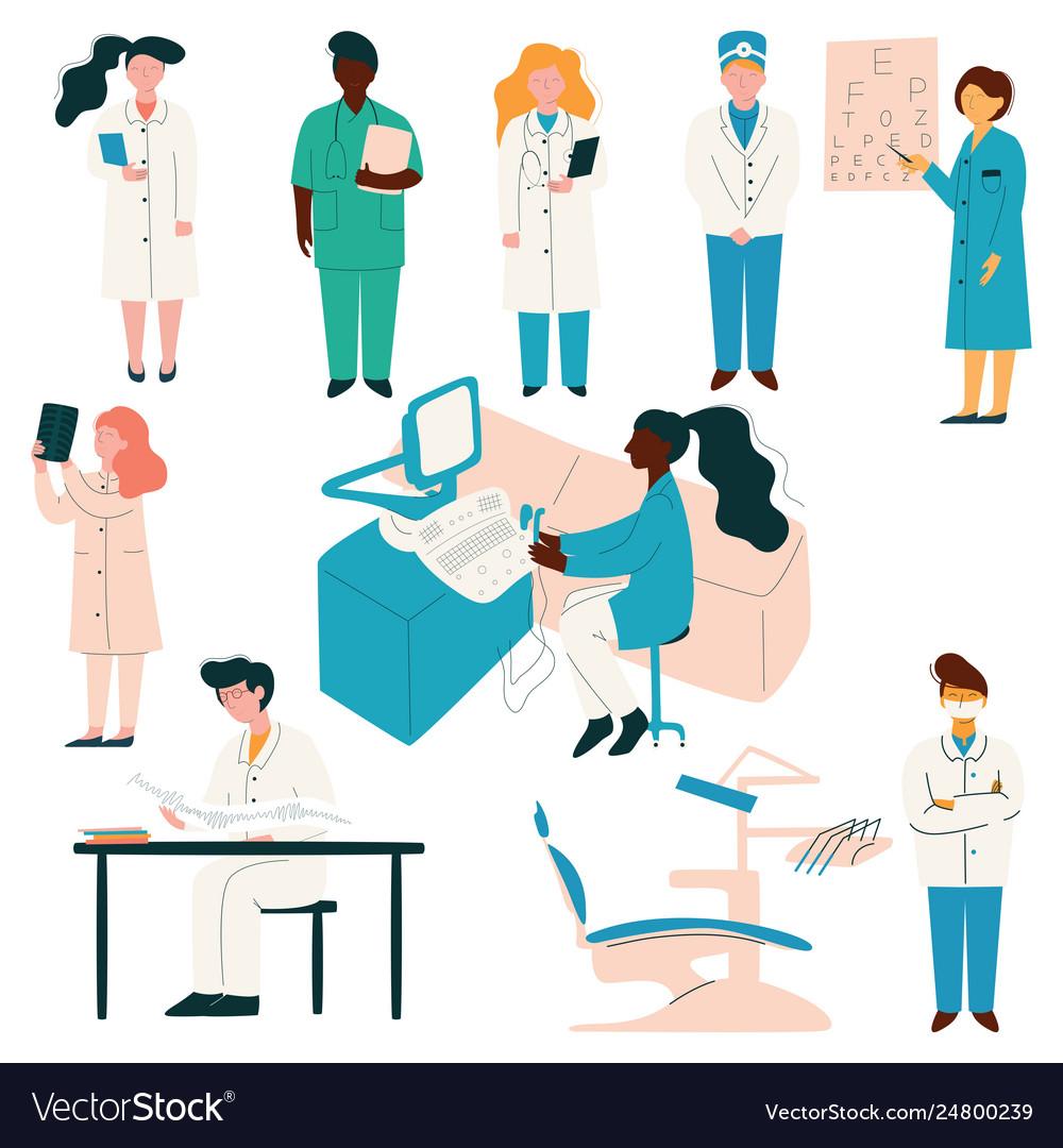Doctors and nurses medical staff set hospital