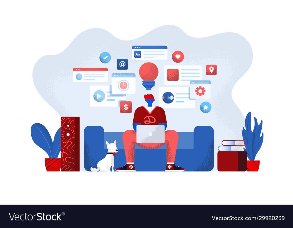 Flat modern design online education