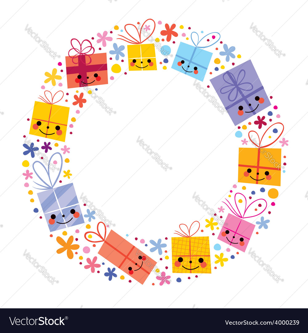 Gifts present boxes holiday circle frame design Vector Image