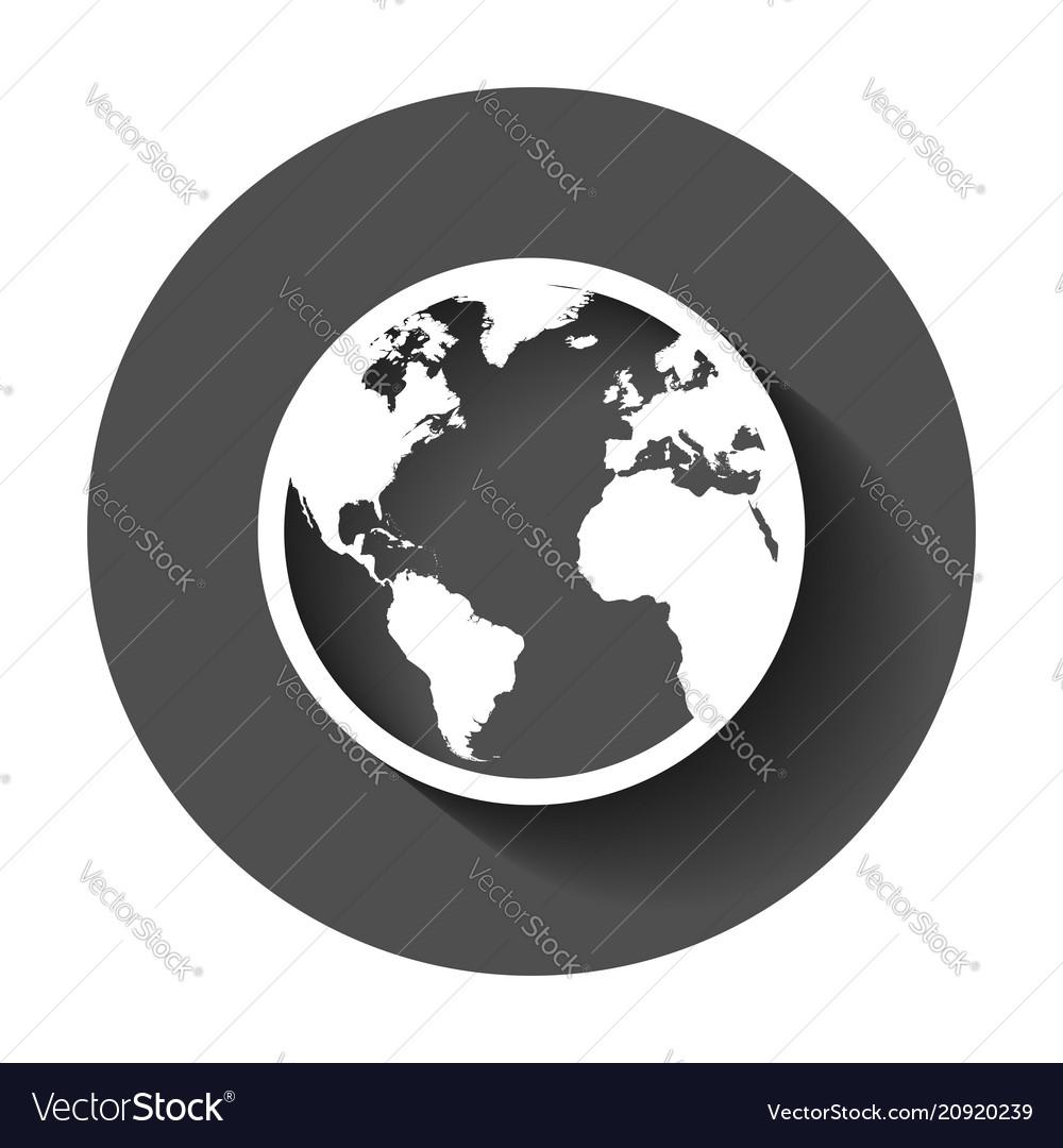 globe world map icon round earth flat planet vector image