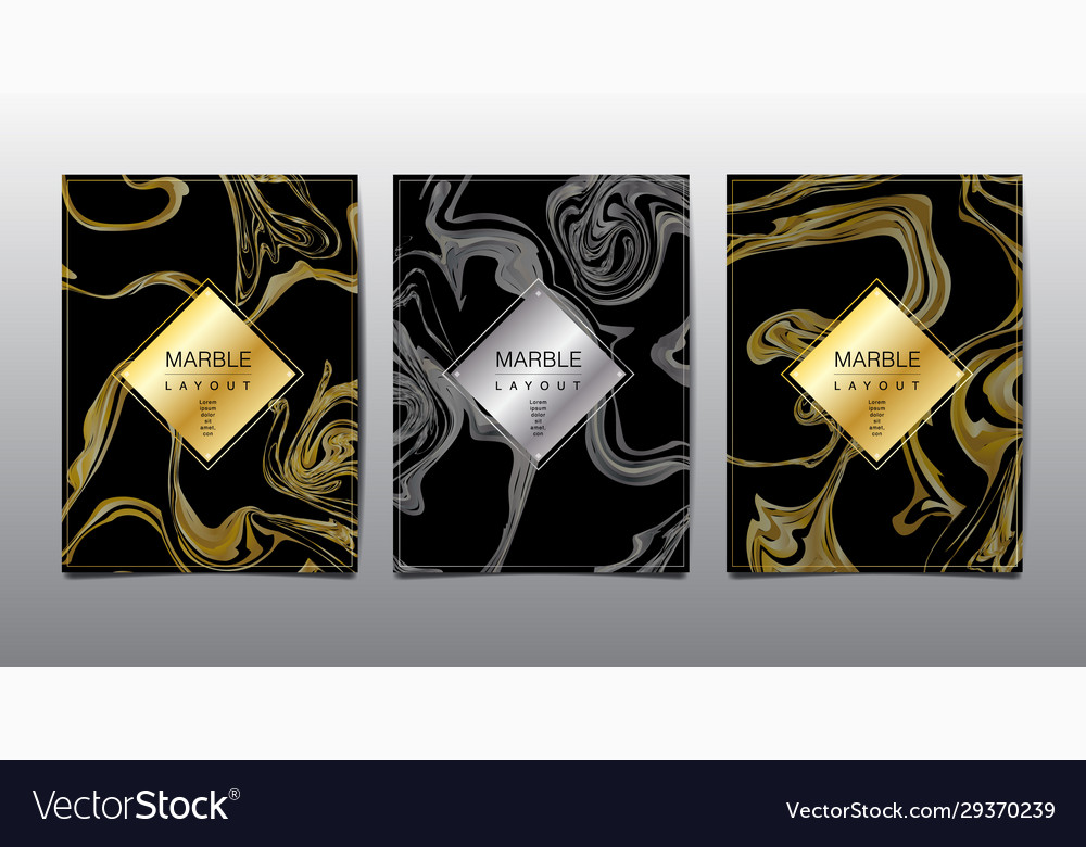 Gold black white marble template covers design vector