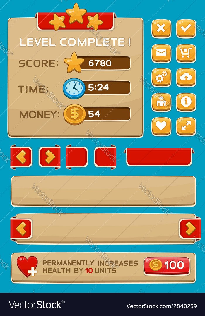 Interface buttons set for games or apps3