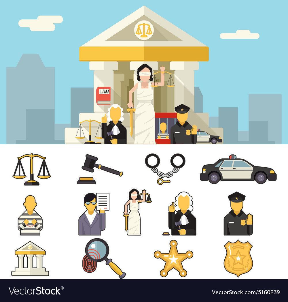 Law Icons Set Justice Symbol Concept on City