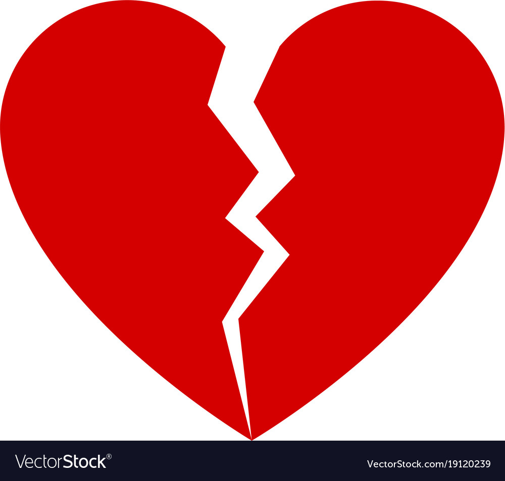 red broken heart royalty free vector image vectorstock rh vectorstock com broken heart vector images broken heart vector free download