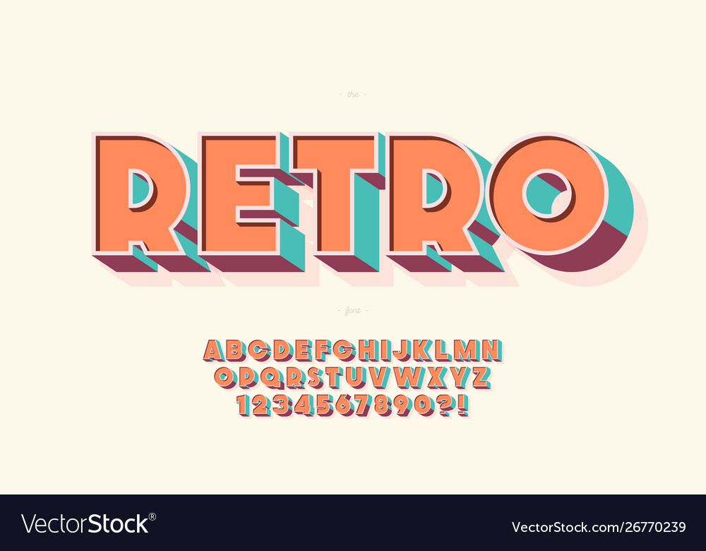 Retro 3d font 80s style modern typography