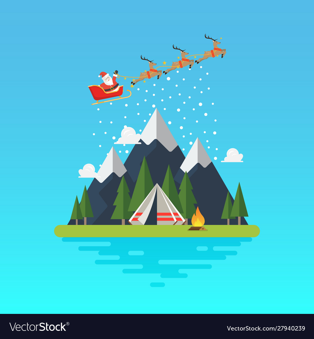 Santa sleigh with landscape