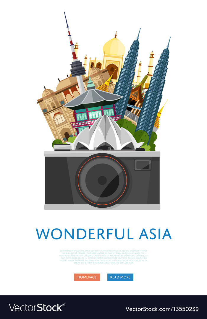 Wonderful asia poster with famous attractions