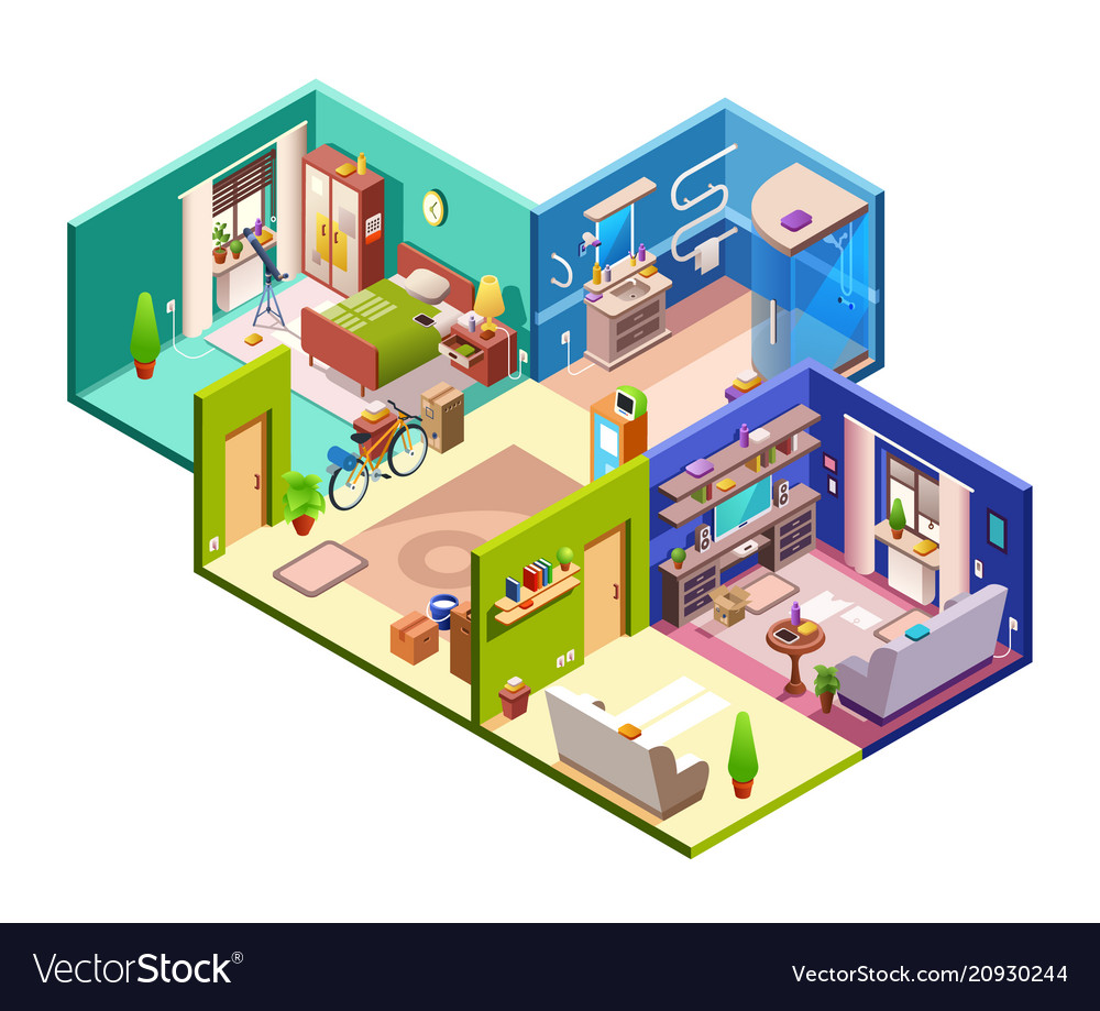 Apartment rooms cross section vector image