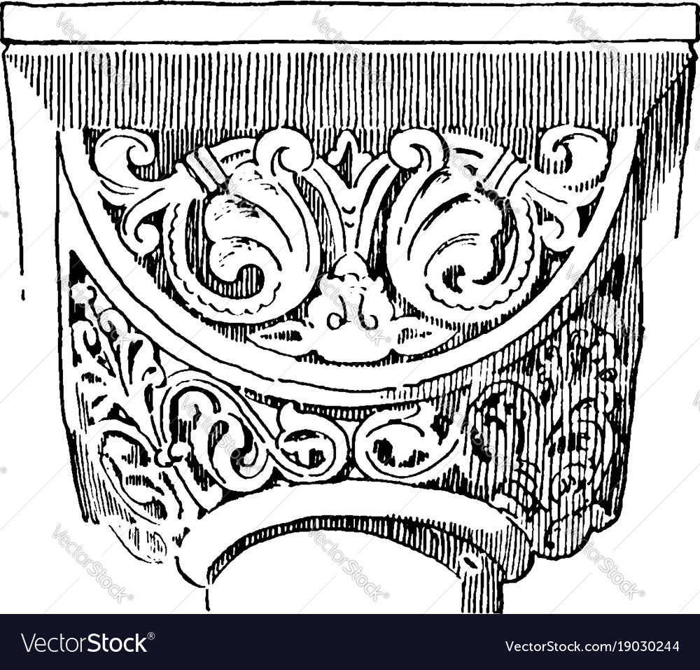 Capital ionic vintage engraving vector image
