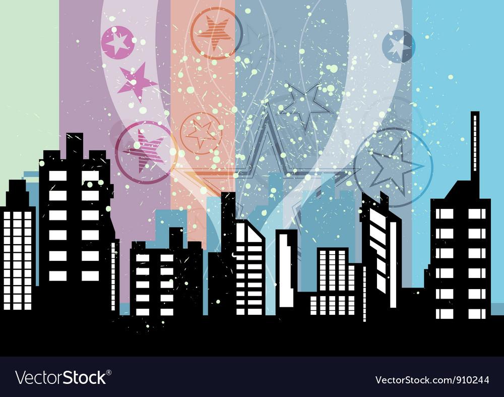 City celebrations with retro background