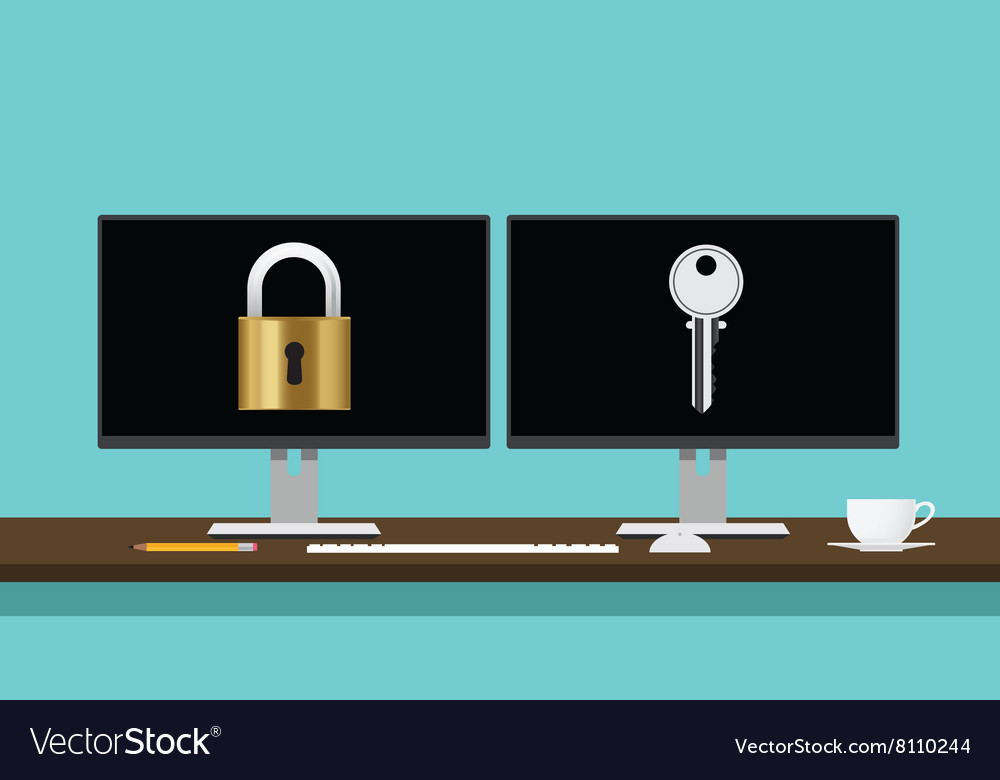 Encrypt decrypt concept with lock and key vector image