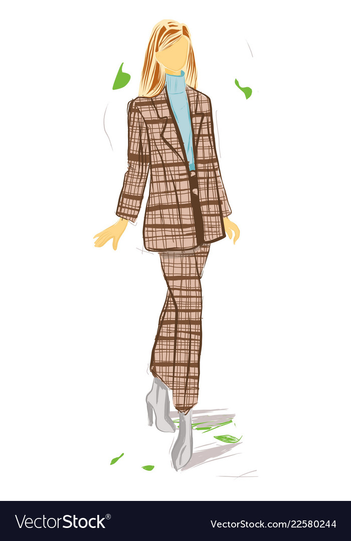 Fashion woman with brown suit stylish illus