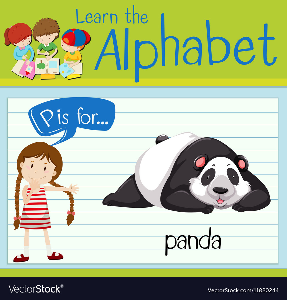 Flashcard Letter P Is For Panda Royalty Free Vector Image Giant Animals