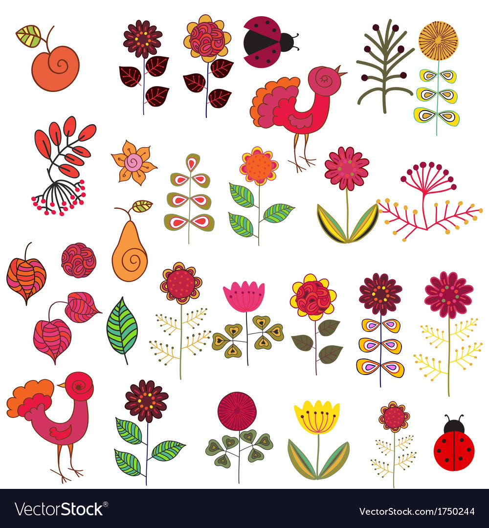 Fruits flowers and birds set