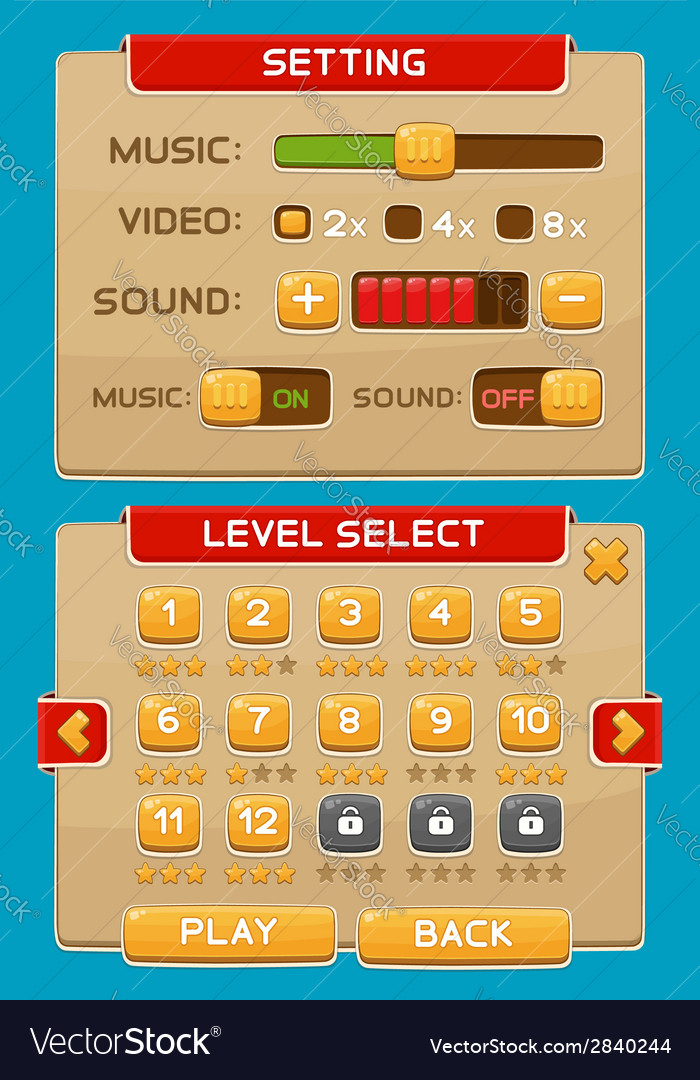 Interface buttons set for games or apps4