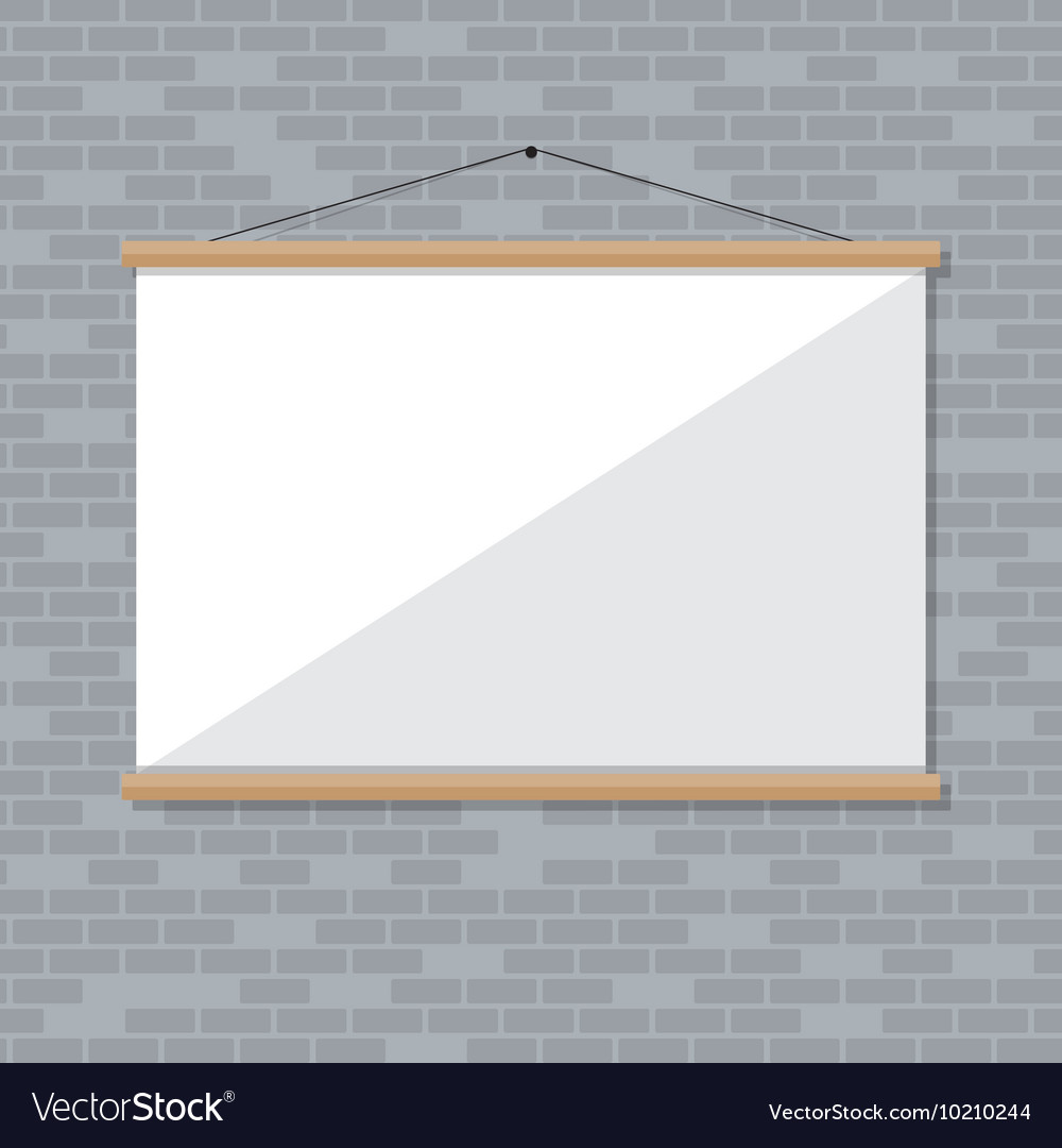 Projector screen on brick wall
