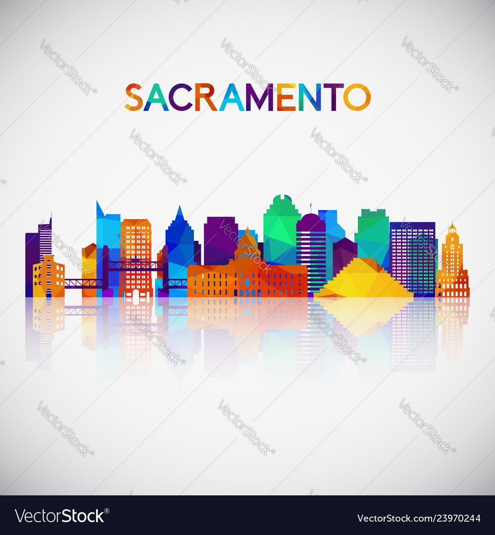 Sacramento skyline silhouette in colorful