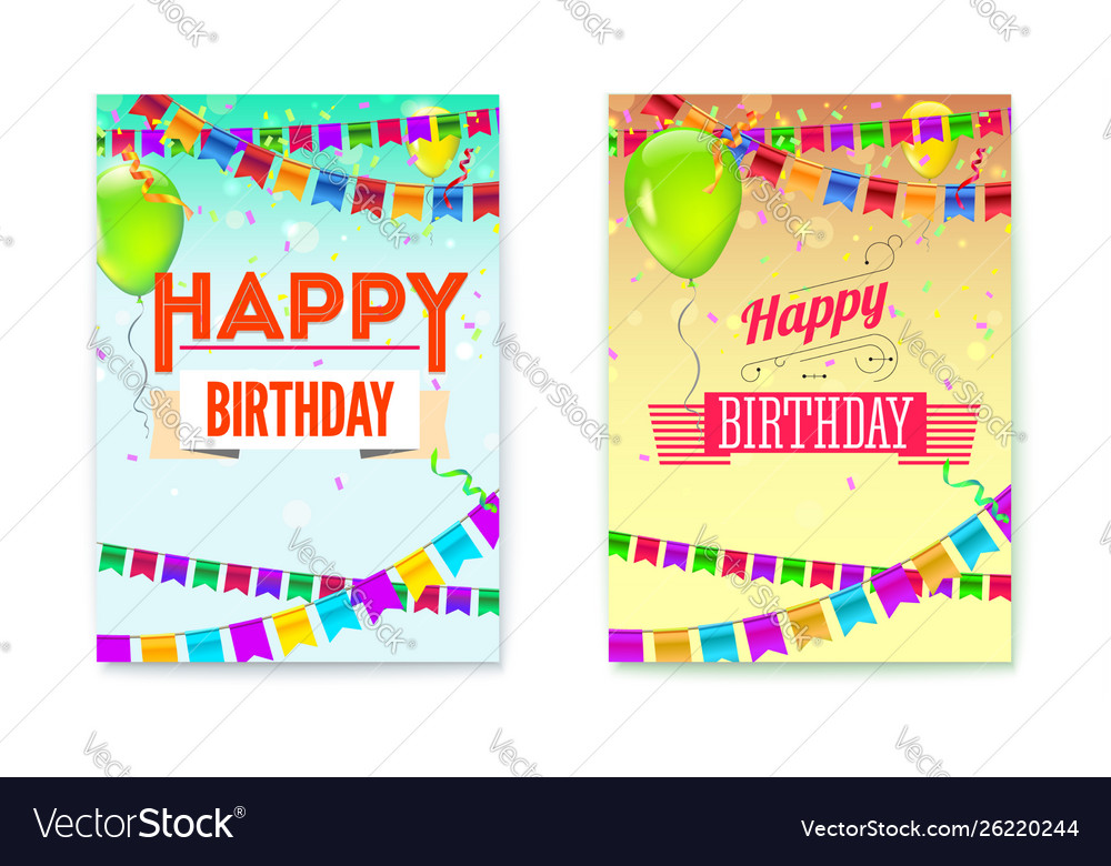 Set happy birthday greeting posters festive
