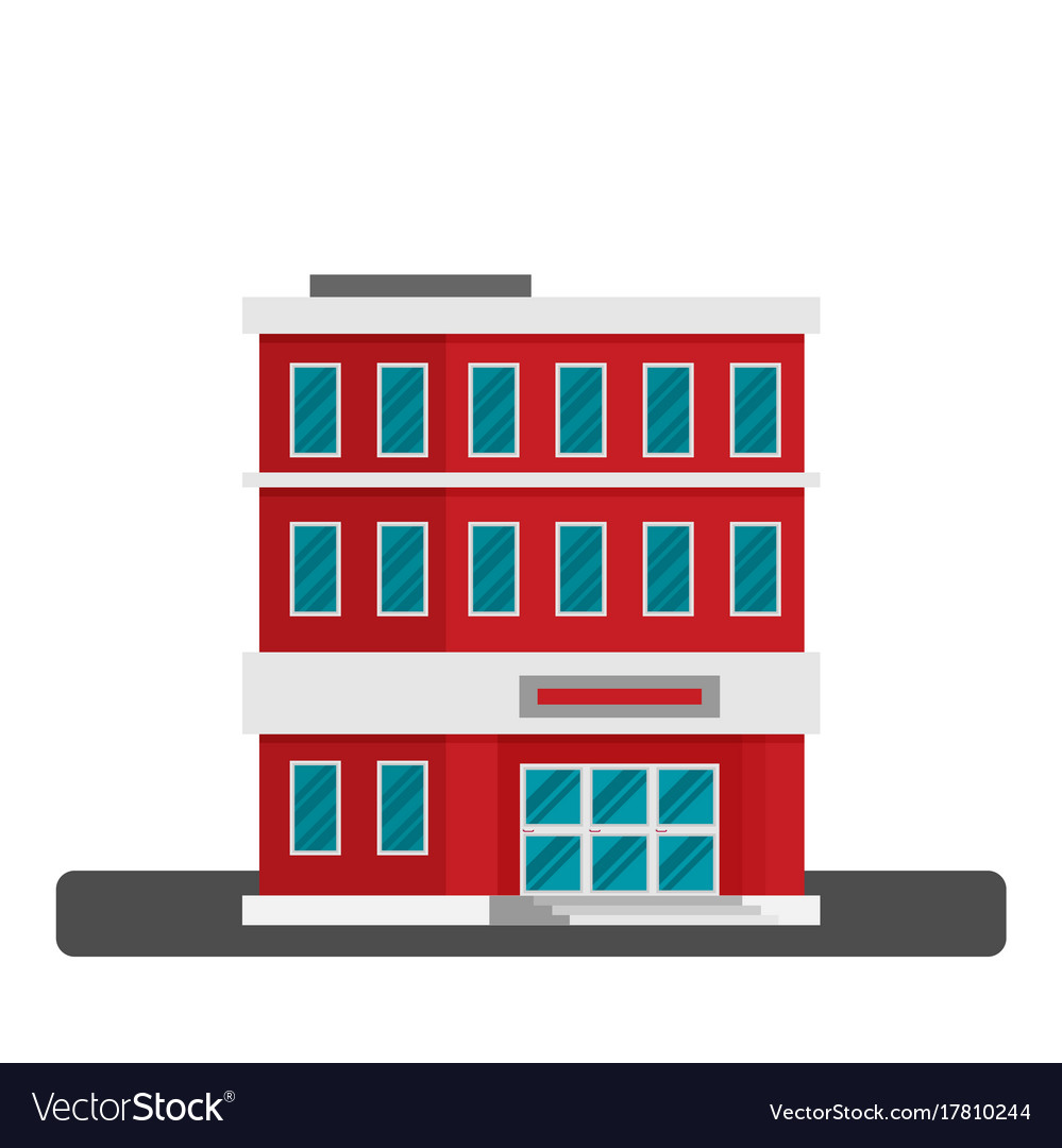 Single City Office Building In Flat Style Vector Image
