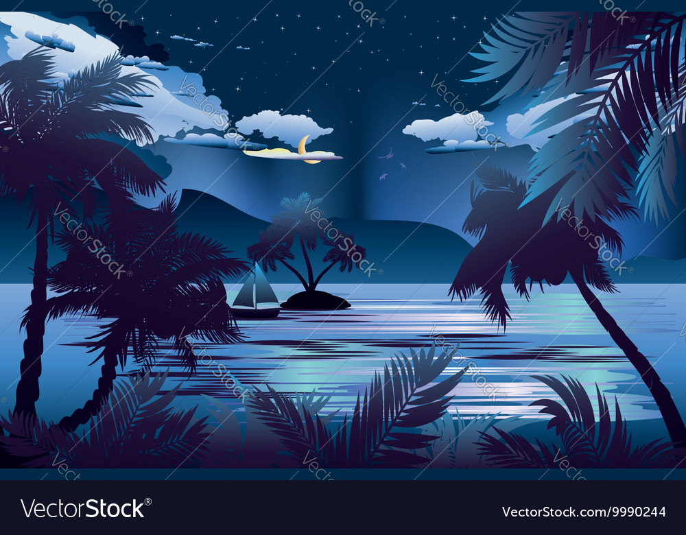 Tropical Island at Night