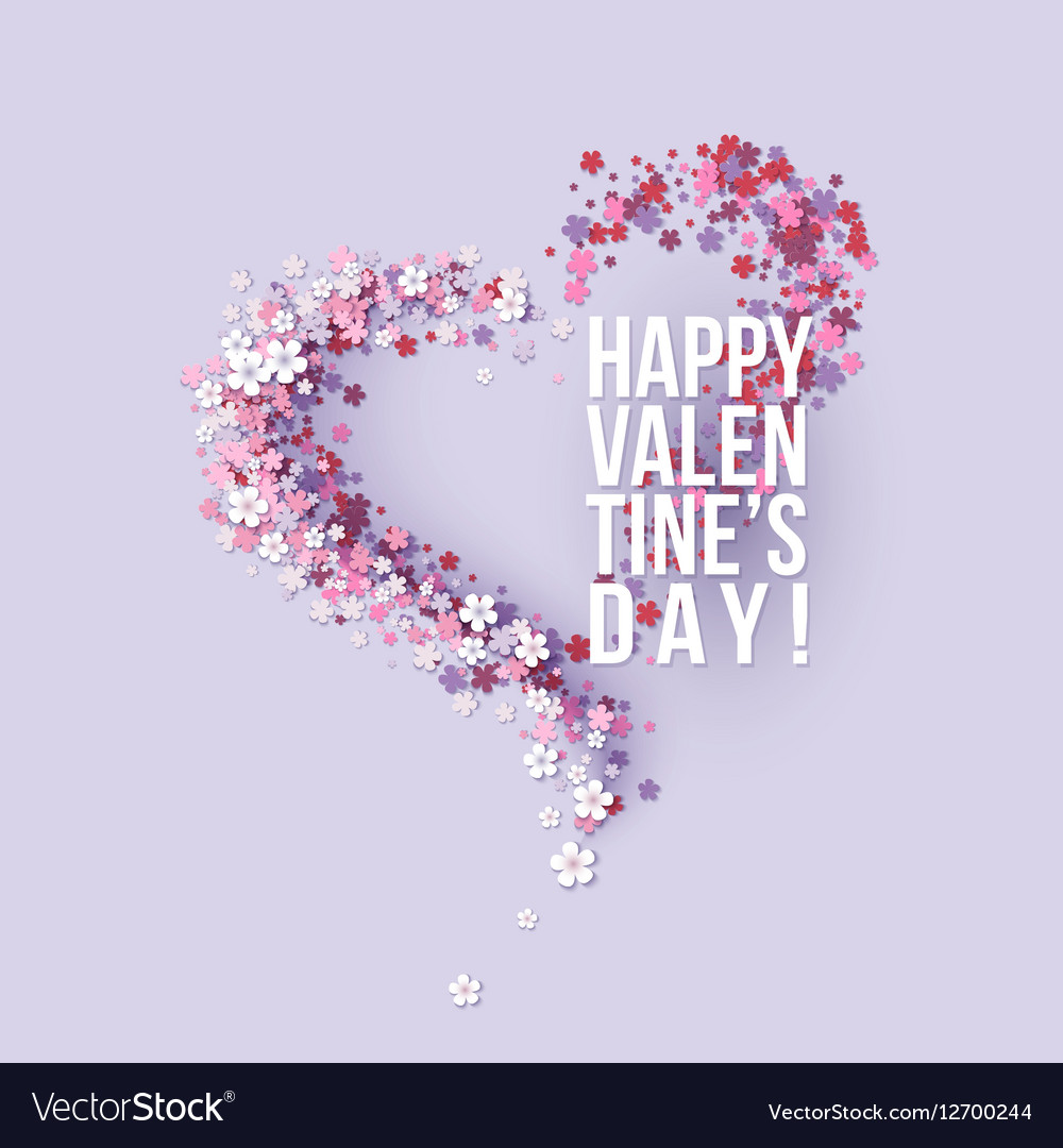 Valentines day card with pink flowers heart shaped valentines day card with pink flowers heart shaped vector image mightylinksfo
