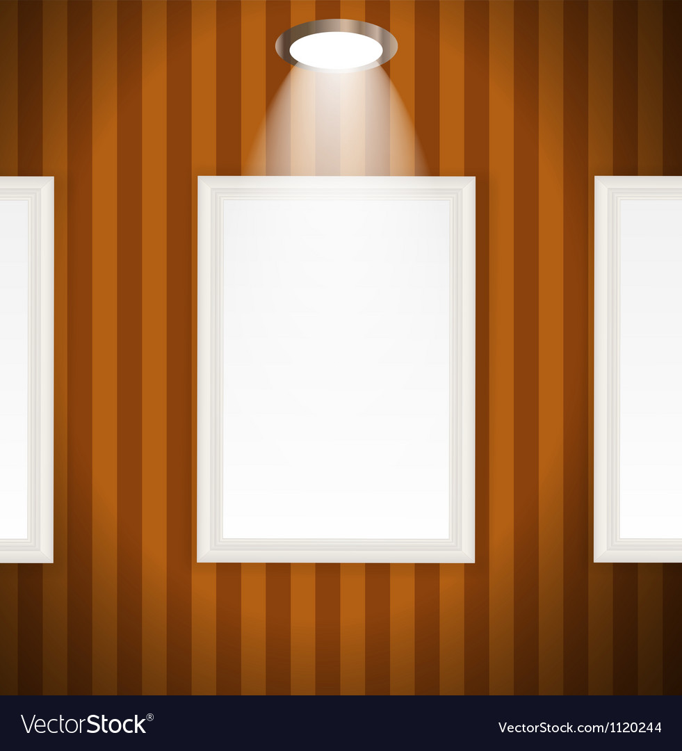 White frames in art gallery Royalty Free Vector Image