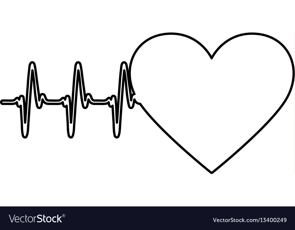 Figure Symbol Heartbeat With Heart Icon Royalty Free Vector
