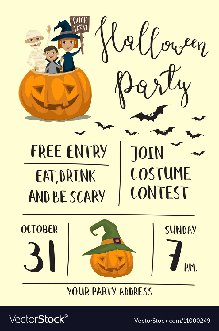 Halloween party poster design with kids
