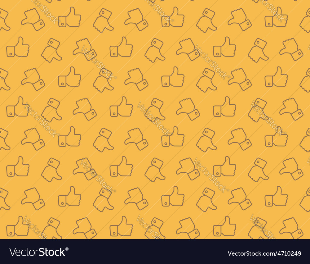 Hand Thumbs Up Icon Seamless Pattern Background vector image