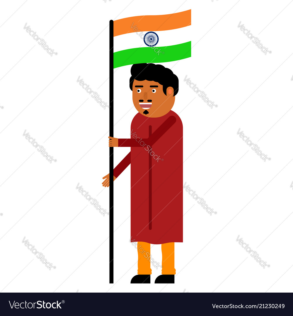Indian man carries the flag of india