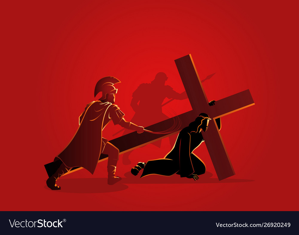 Jesus falls for first time