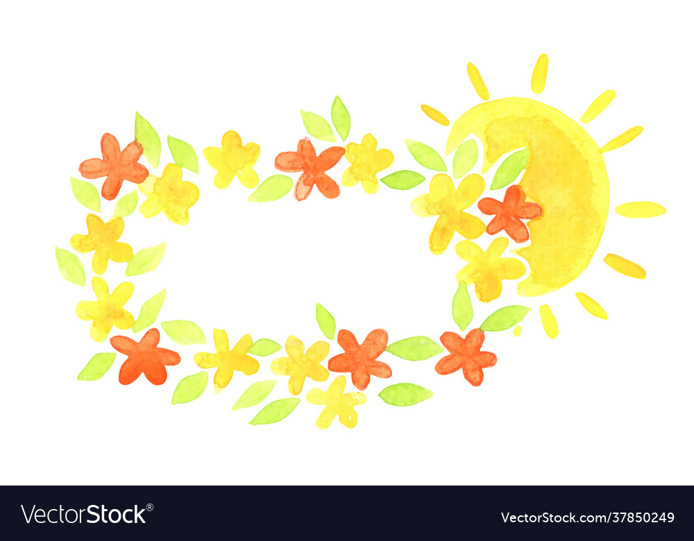 Sunrise morning with flower rectangle wreath