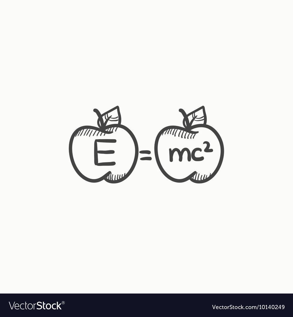 Two apples with formulae sketch icon