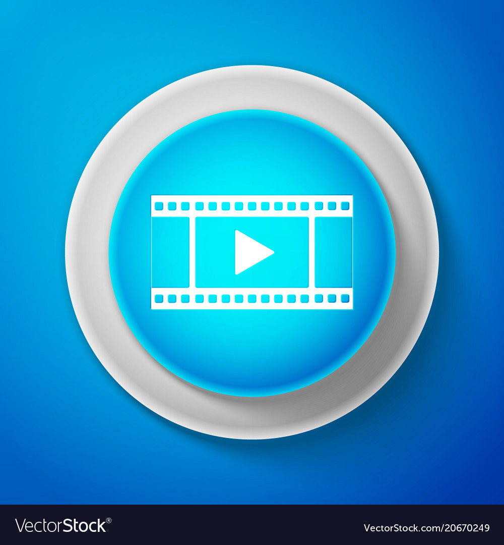 White play video icon isolated on blue background