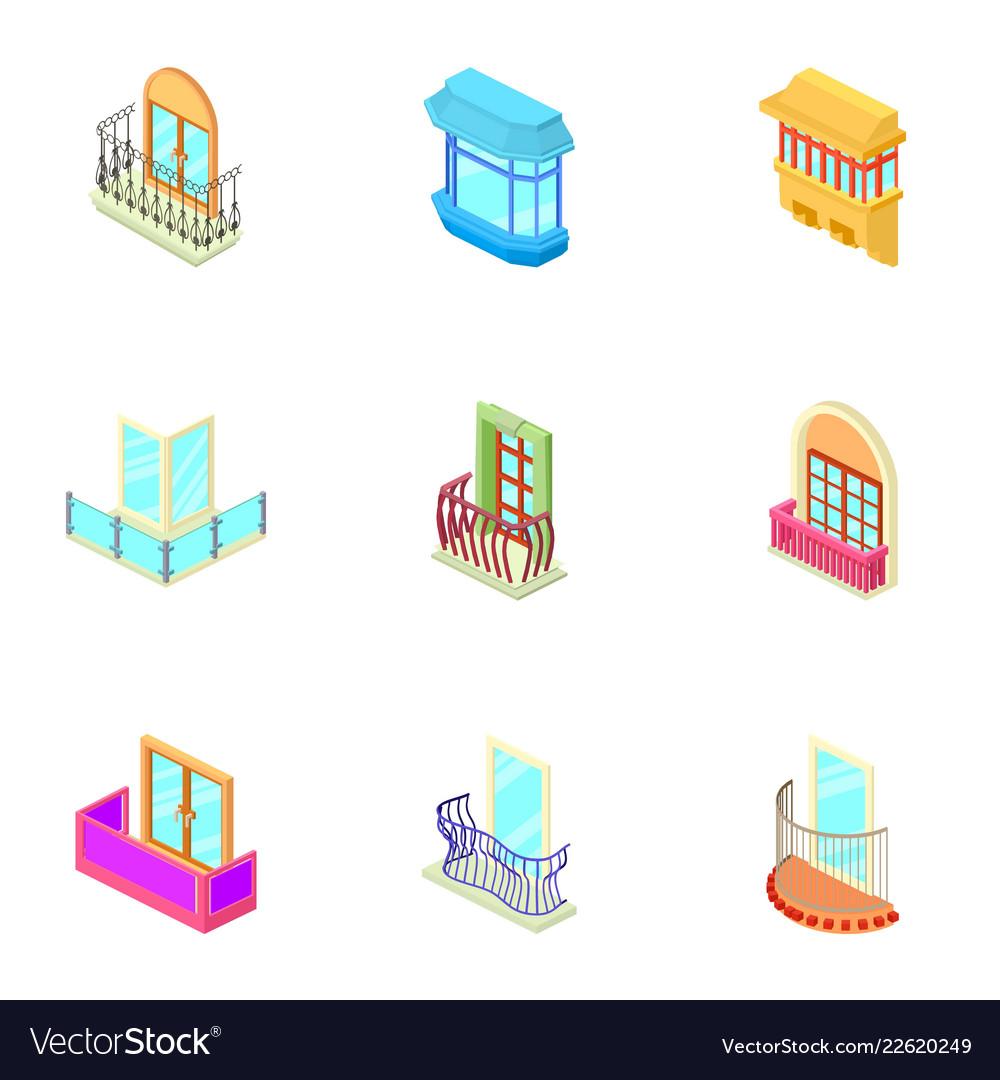 Window hole icons set isometric style