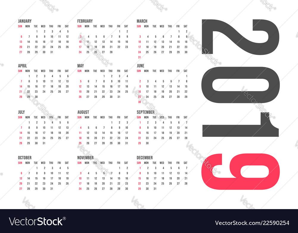 2019 year calendar template minimal pocket