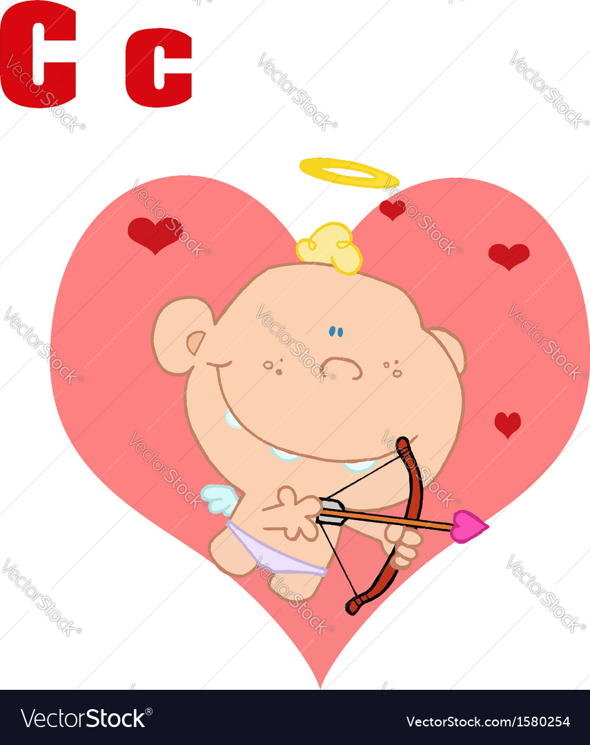 Baby cupid cartoon with letter