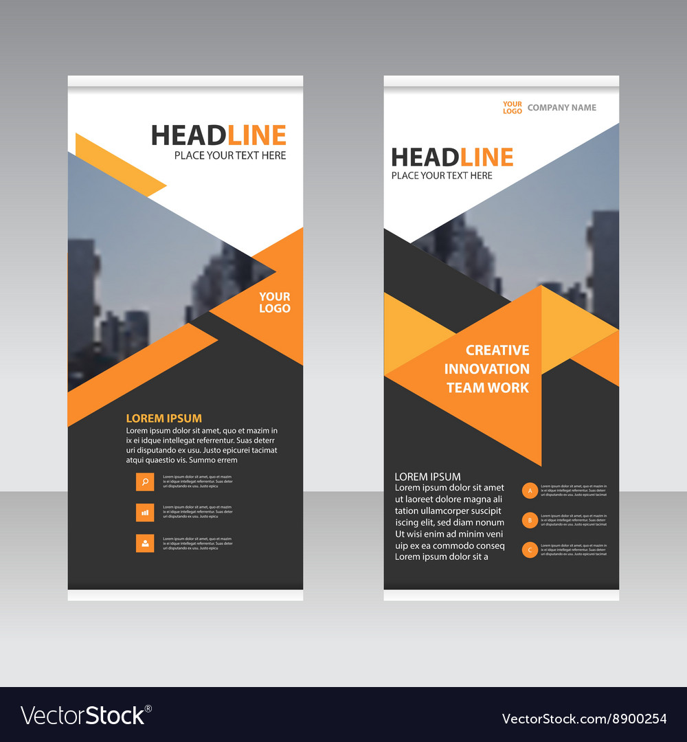 Black orange business trifold leaflet template vector image cheaphphosting