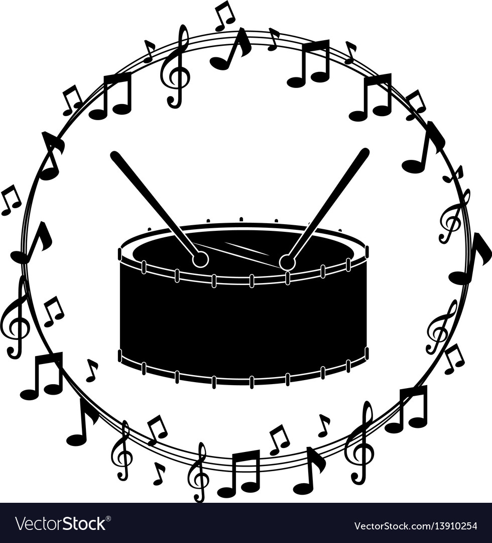 Border musical notes with drump instrument musical