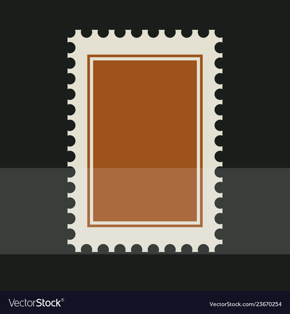 Brown blank postage stamp toothed border sticker