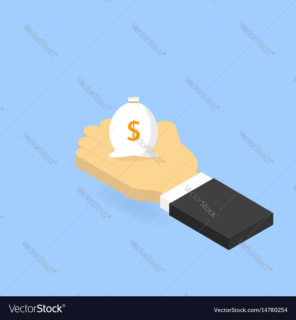 Businessman holding a bag of money isometric