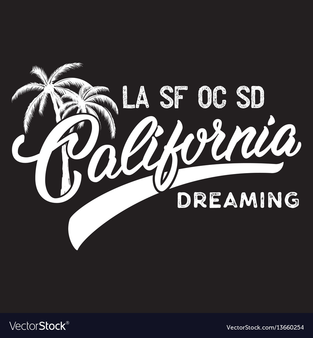 California inscription with palm tree vector image