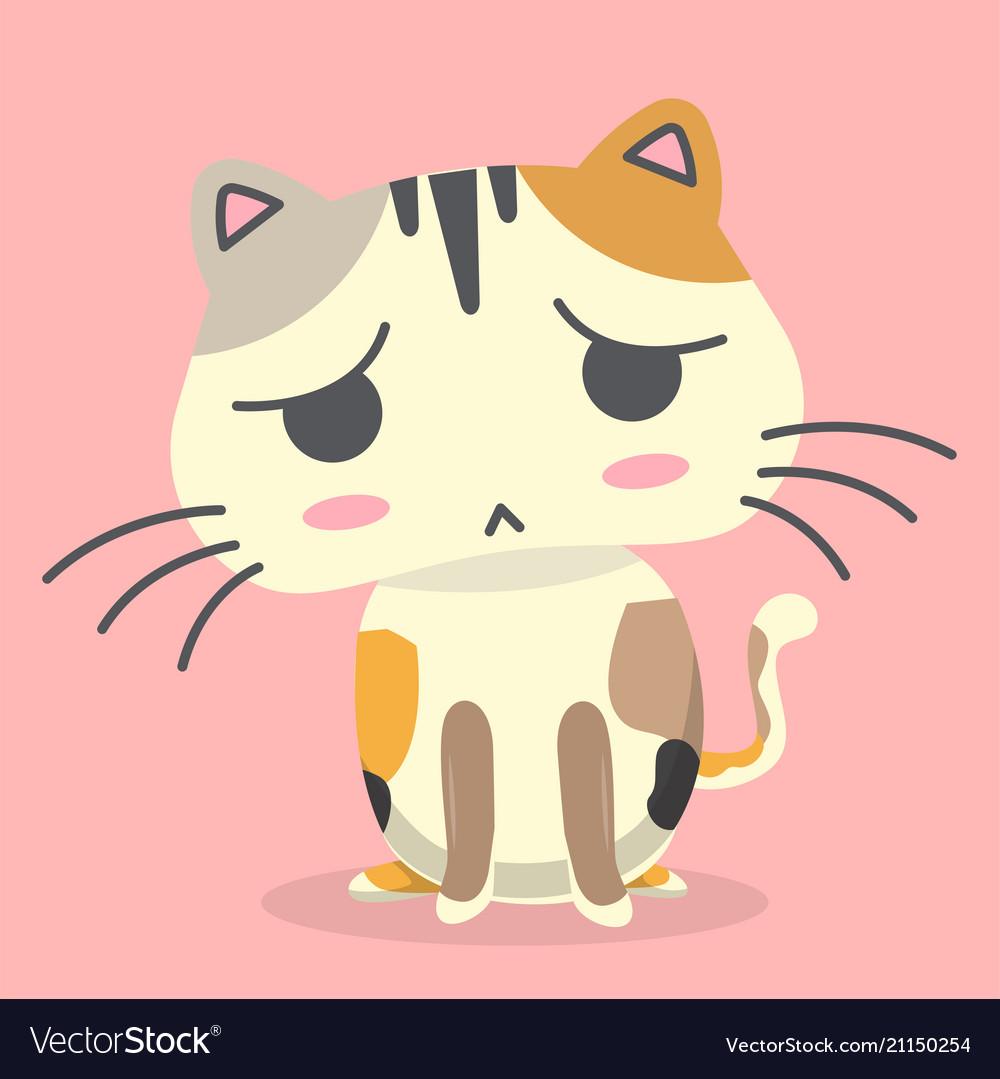 Cartoon cat doubt emotion pink background i