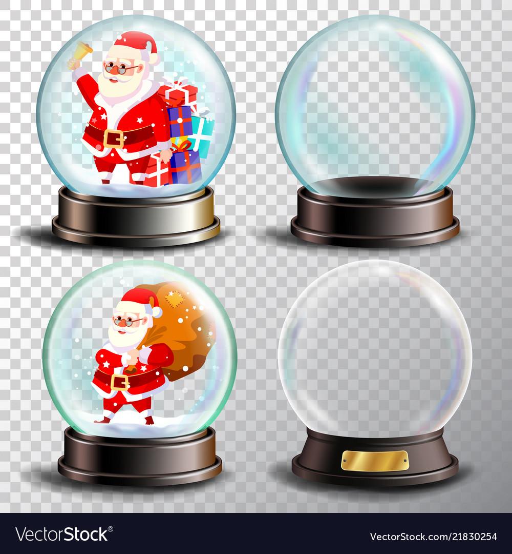 Christmas snowglobe set empty snow globe