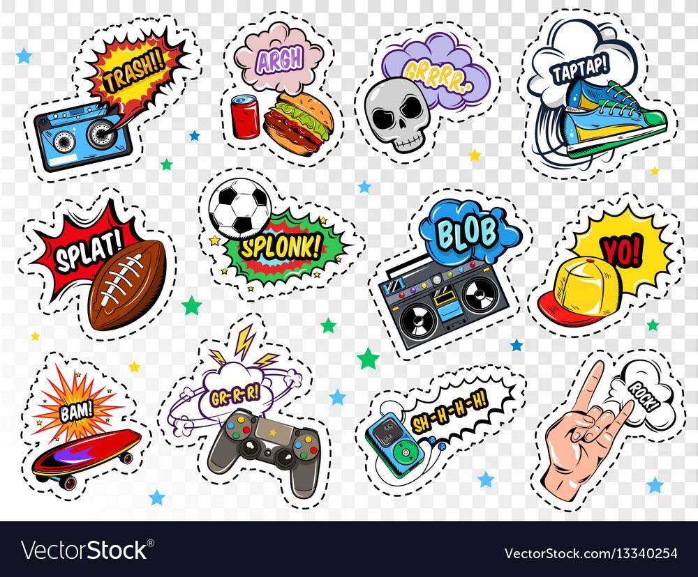 Comic boys stickers set vector image
