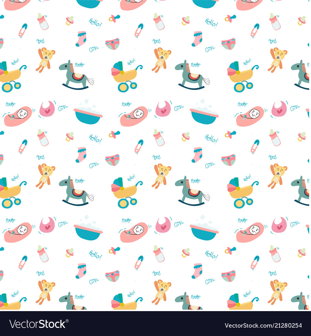 Cute doodle baby toy stuff pattern seamless