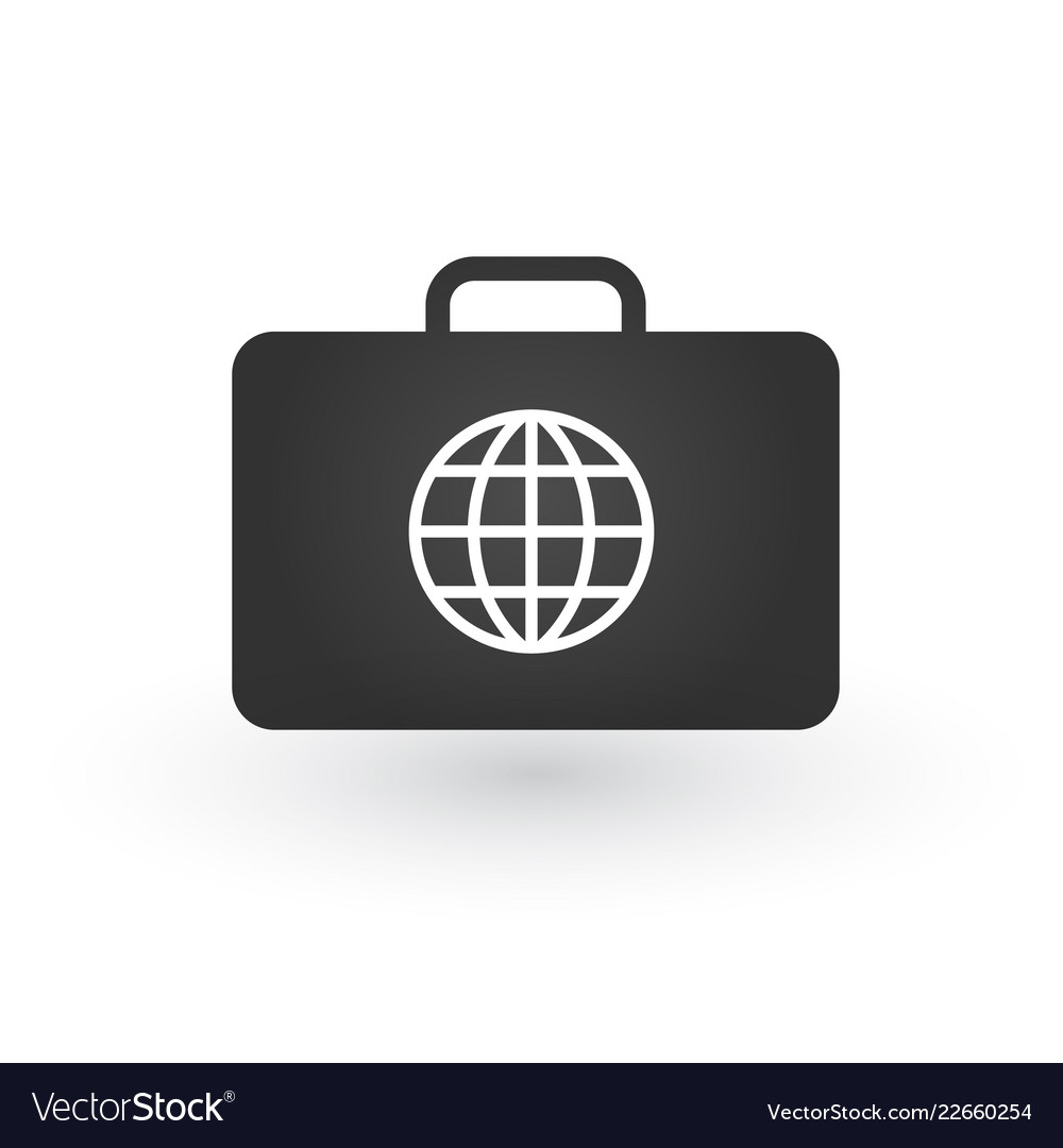Global travel concept with retro suitcase and